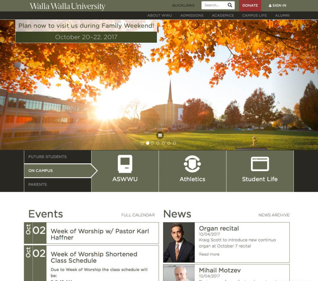 Typo3 Website for the Walla Walla University