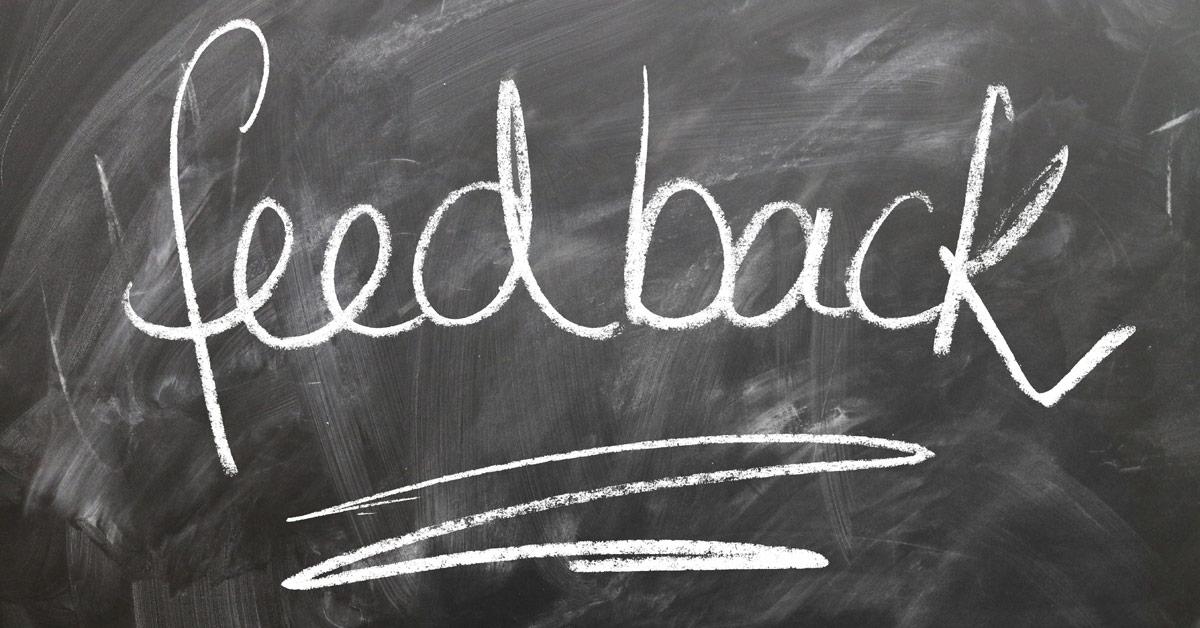 feedback written on chalk board