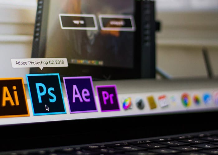 computer screen showing photoshop icon