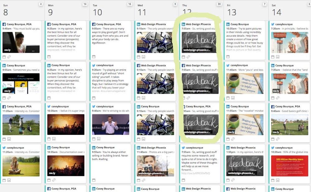 Hootsuite Calendar example